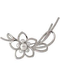 Splendid Rhodium Plated Silver 4.5-8.5mm Pearl & Cz Brooch - Metallic