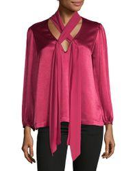 Ella Moss - V-neck Tie Front Top - Lyst