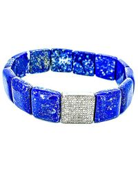 Arthur Marder Fine Jewelry Silver 0.75 Ct. Tw. Diamond & Lapis Stretch Bracelet - Blue