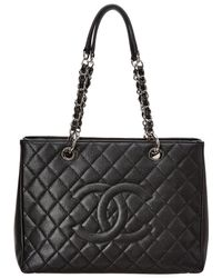 Chanel - Black Quilted Caviar Leather Grand Shopping Tote - Lyst