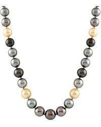 Splendid 14k 11-14mm South Sea & Tahitian Pearl Necklace - Metallic
