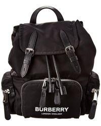 Burberry The Small Rucksack In Logo Print Econyl® - Black