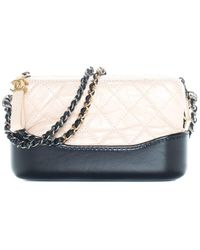 Chanel Beige, Black Quilted Leather Gabrielle Crossbody - Multicolor