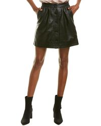French Connection Shirred Leather Pencil Skirt - Black
