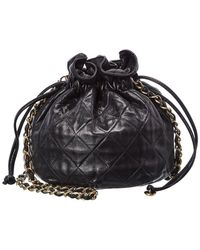 Chanel Black Quilted Lambskin Leather Bucket Bag
