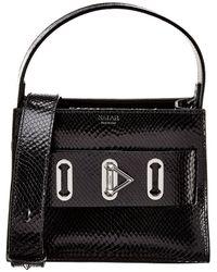 Salar Ludo Snake-embossed Leather Shoulder Bag - Black