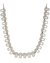 Swarovski Gallery 18k Rose Gold Plated Bib Necklace - Metallic