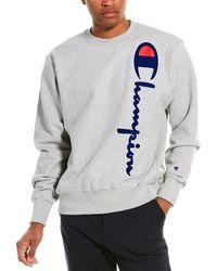Champion Oversized Flocked Script Reverse Weave Sweatshirt - Gray
