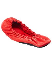 Balenciaga Tug Leather Ballerina Flat - Red