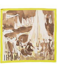 "Hermès ""sur Les Rives Du Leman,"" By Jean-louis Clerc Silk Scarf - Metallic"
