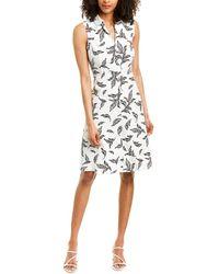 T Tahari Linen-blend A-line Dress - White
