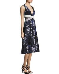 ABS By Allen Schwartz Floral Mesh Side Cutout Fit & Flare Dress - Blue