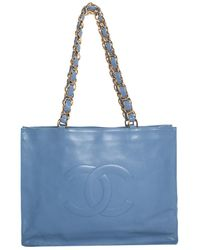 Chanel - Vintage Blue Lambskin Cc Extra Large Tote, Nwt - Lyst