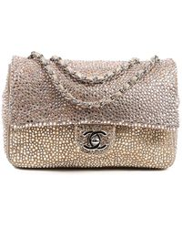 Chanel Limited Edition Gold Leather Mini Strass Single Flap Bag - Multicolour