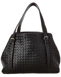 Bottega Veneta Intrecciato Leather Tote - Black