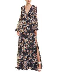 Nicholas Garden Rose Silk Maxi Dress - Blue