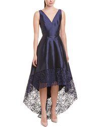 ML Monique Lhuillier V-neck High-low Dress - Blue