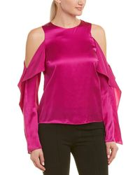 Pinko Silk Composizione Cold-shoulder Blouse - Pink