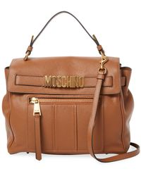 Moschino Strappy Leather Satchel - Brown