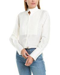 FRAME Denim Tux Linen-blend Shirt - White