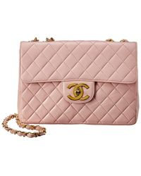 Chanel Pink Quilted Lambskin Leather Jumbo Single Half Flap Bag