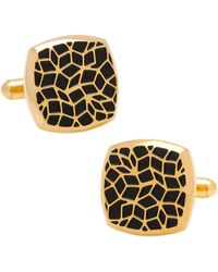 Ox and Bull Trading Co. - Gold Stainless Steel Geometric Cell Cufflinks - Lyst