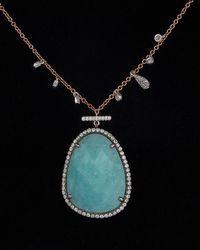 Meira T - Meria T 14k Rose Gold & Silver 12.81 Ct. Tw. Diamond & Larimar Necklace - Lyst