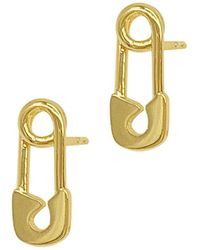 Adornia - 14k Plated Safety Pin Earrings - Lyst