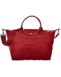 Longchamp Le Pliage Medium Nylon Short Handle Tote - Red