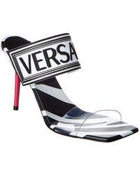 Versace 90's Vintage Logo Vinyl & Leather Sandal - Black