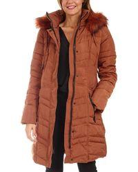 Kensie Long Down Jacket - Brown