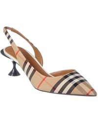 Burberry Vintage Check Slingback Court Shoes - Natural