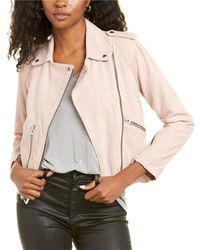 AllSaints Suede Balfern Biker Jacket - Pink
