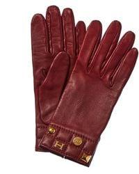 Hermès Burgundy Leather Charm Gloves - Red