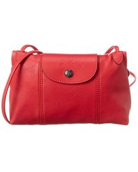 Longchamp Le Pliage Cuir Leather Crossbody - Red