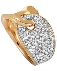 Swarovski - Crystal Rose Gold Plated Stainless Steel Ring - Lyst