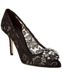 Dolce & Gabbana Floral Lace Court Shoes - Black