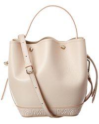 MCM Milano Drawstring Leather Bucket Bag - Natural