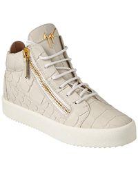 Giuseppe Zanotti Croc-embossed Leather High-top Sneaker - White