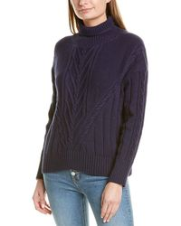 J.Crew Chunky Cable Turtleneck Sweater - Blue