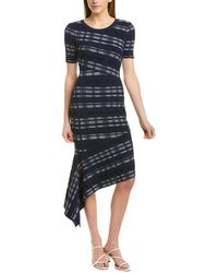 MILLY Directional Draped Dress - Blue