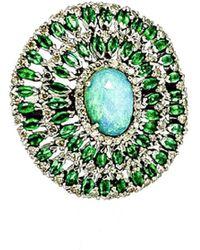 Arthur Marder Fine Jewelry Silver 2.52 Ct. Tw. Diamond & Gemstone Ring - Green