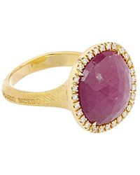 Marco Bicego Jaipur 18k 0.21 Ct. Tw. Diamond & Sapphire Cocktail Ring - Metallic