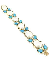 Arthur Marder Fine Jewelry Silver 6.00 Ct. Tw. Diamond, Turquoise, & 16-22mm Pearl Bracelet - Blue