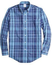 Brooks Brothers Non-iron Regent Fit Madras Sport Shirt - Blue