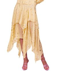 LoveShackFancy Alex Silk-blend Skirt - Yellow
