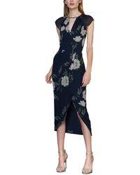 ML Monique Lhuillier Floral Print Flutter-sleeve High-low Dress - Blue