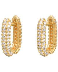 Gabi Rielle 14k Over Silver Cz Huggie Earrings - Metallic