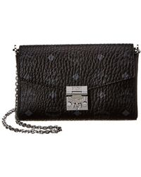 MCM Mallie Flap Wallet On Chain - Black