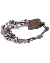 Chan Luu Silver Gemstone & Crystal Leather Bracelet - Metallic